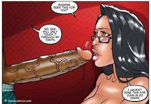 Slutty babe is deepthroating ebony penis in hot interracial comics